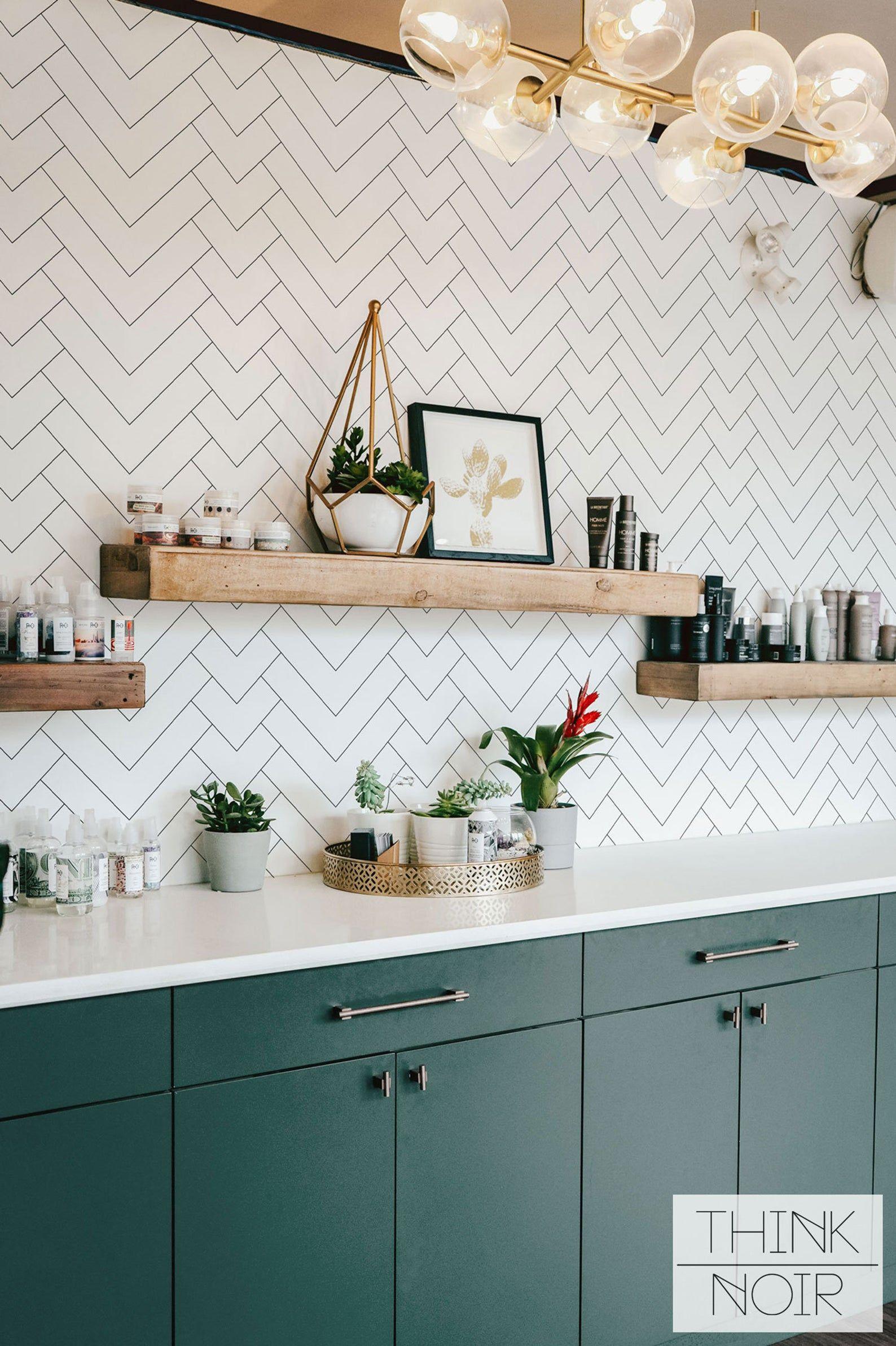 Minimalistic Geometric Pattern Regular Wallpaper Simple Etsy In 2020 Kitchen Wallpaper Herringbone Wallpaper Geometric Wall