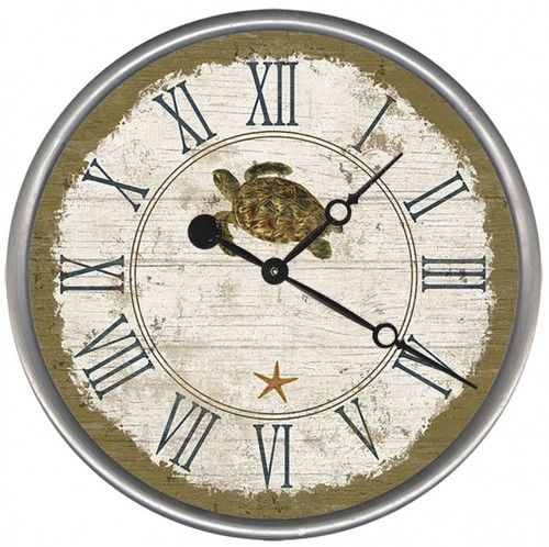 This round Beach Cottage Sea Turtle clock combines a pretty rustic-like face, Roman numerals and a Suzanne Nicoll seashell in the center.
