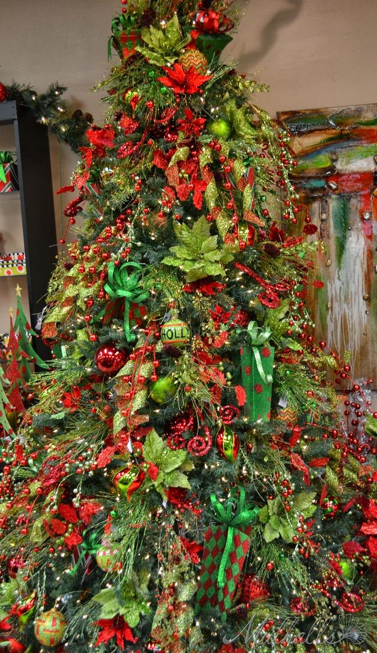 Red & Lime themed Christmas Tree. | Green christmas tree ...