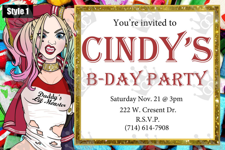 Harley Quinn Custom Digital Printable Birthday Party Invite Template
