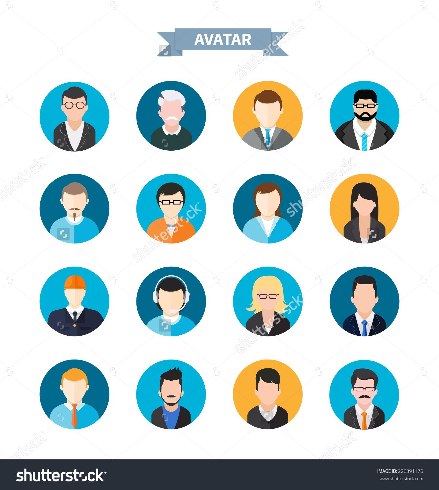 Stock vector set of stylish avatar of male and woman icons in flat set of avatars icons by robuart set of stylish avatar of male and woman icons in flat design buycottarizona Gallery