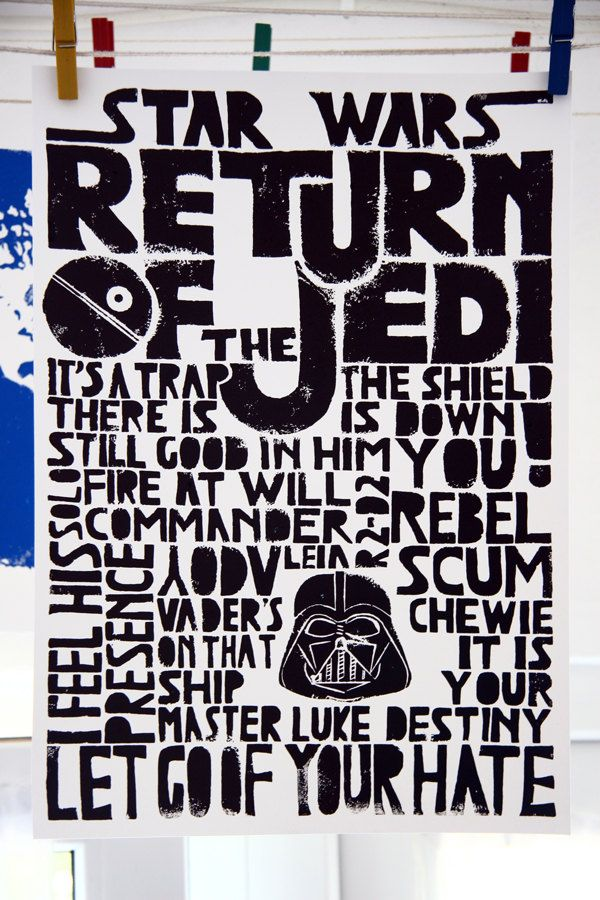 Large A3 Movie Poster Star Wars Return Of The Jedi, Kids Wall Art, Children  Decor, Inspirational Fun Geek Quote   Lino Art Letterpress Black