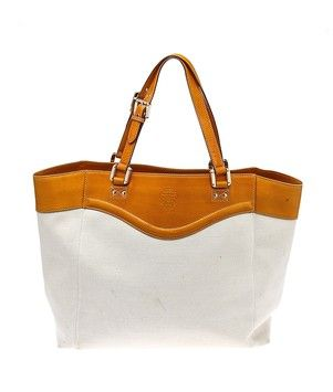 8ad6cc7bd9a Gucci Beige Canvas   Camel Leather Large (30144) Cream   Orange Tote Bag.  Get one of the hottest styles of the season! The Gucci Beige Canvas   Camel  ...