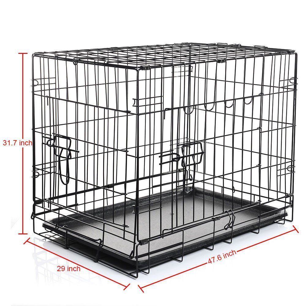 Cages Dog Crate W Divider Tray Fold Metal Pet Cage Kennel Animal