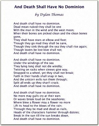 dylan thomas and death shall