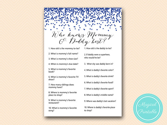 Who Knows Mommy And Daddy Best Game Printable Coed Baby Shower Game