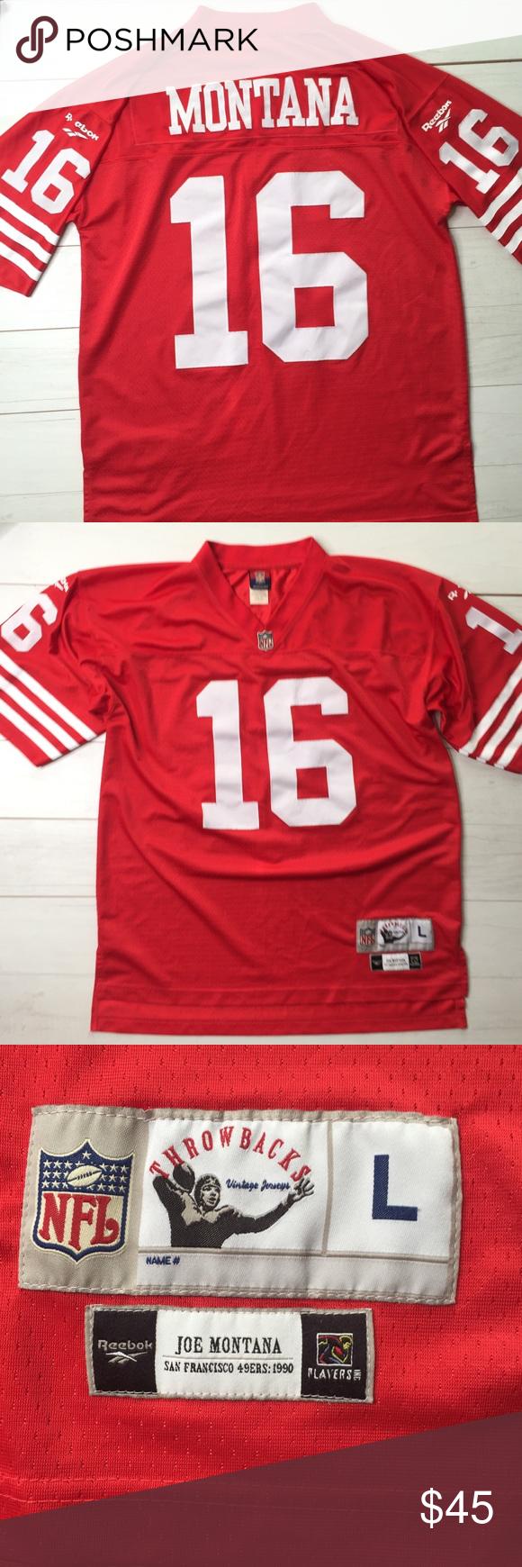 1ee51b950 Joe Montana 49ers Jersey Reebok Sewn Numbers Sz L Joe Montana Jersey Sz  Large Reebok throwback on field sewn numbers + decals reebok see pic one  reebok is ...
