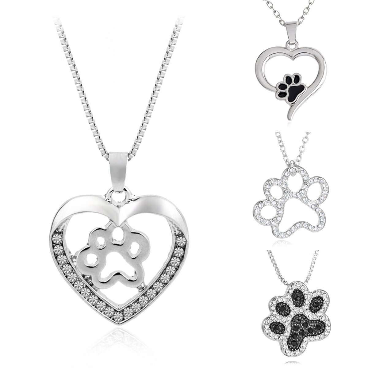 Silver Crystal Animal Memorial Dog Necklaces Dogpaw