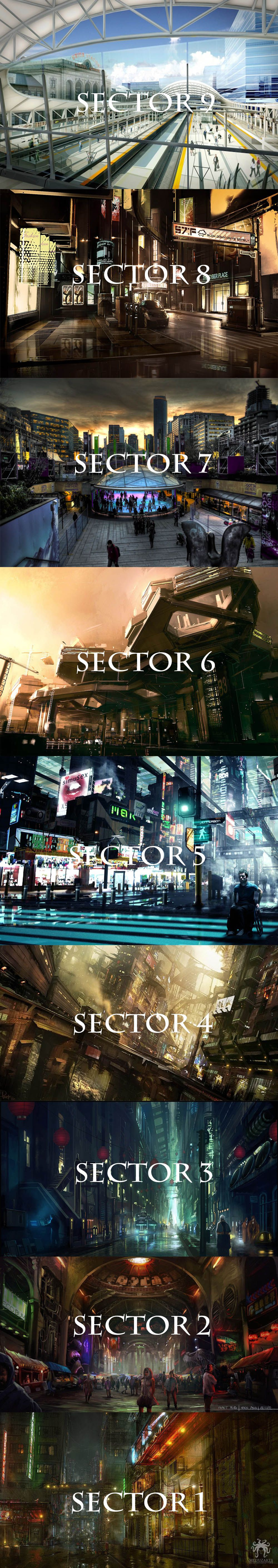Sectors of the city 1-9 (Underground - Above ground) **None of the photo's are mine*Used only for example** Created by @paintsplatter24