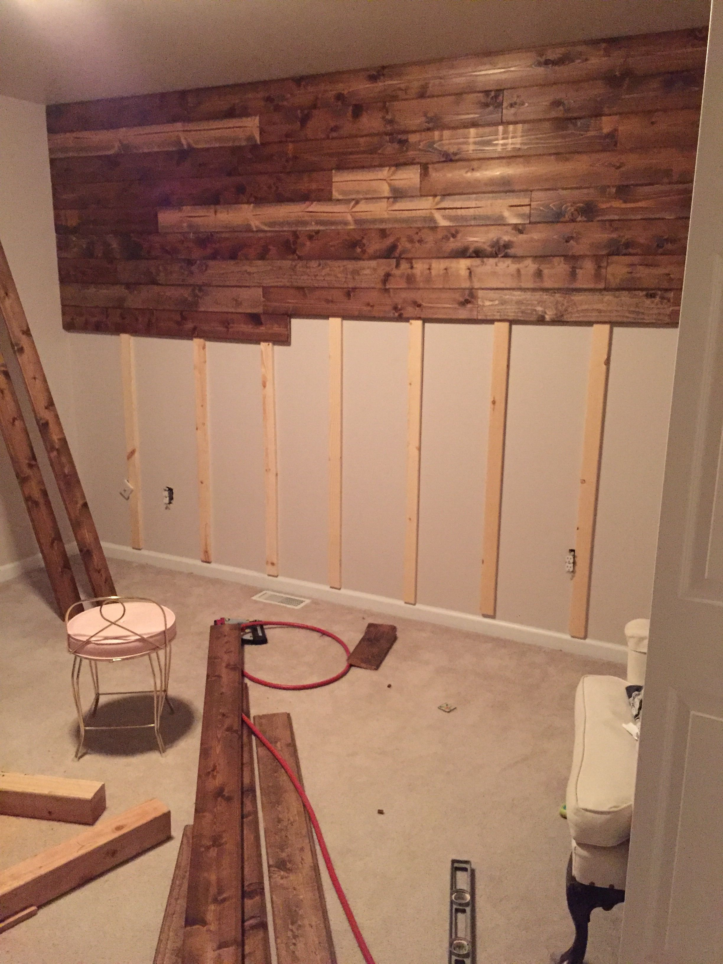 wooden accent wall tutorial pinteres