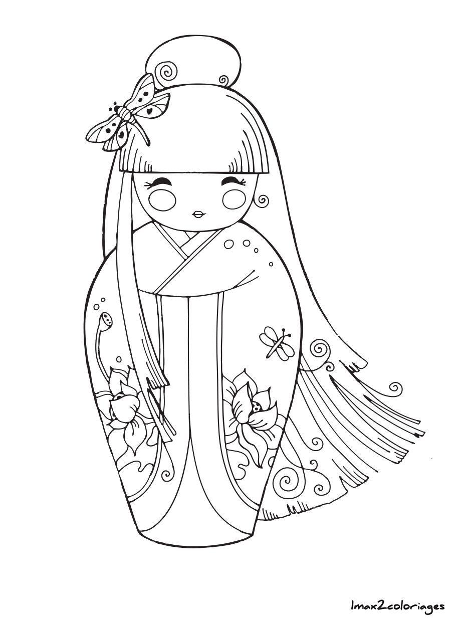 Kokeshi Dolls Coloring Pages Kokeshi Dolls Kokeshi Coloring Pages