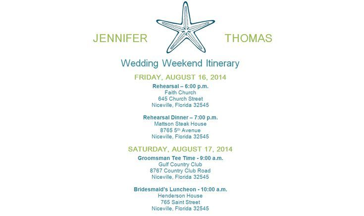 Free Wedding Itinerary Templates to Help Plan Your Big Day - wedding weekend itinerary template