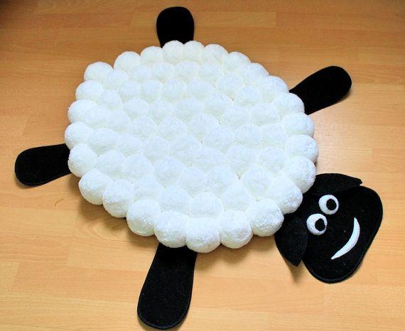Children Pom Rug Pompom Carpet Pompon Nursery Decor White Black Animal Handmade Funny Kids Sheep