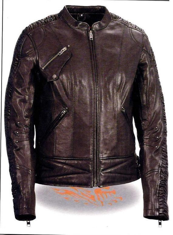 Womens Black Leather Long Motorcycle Vest w Braid Biker