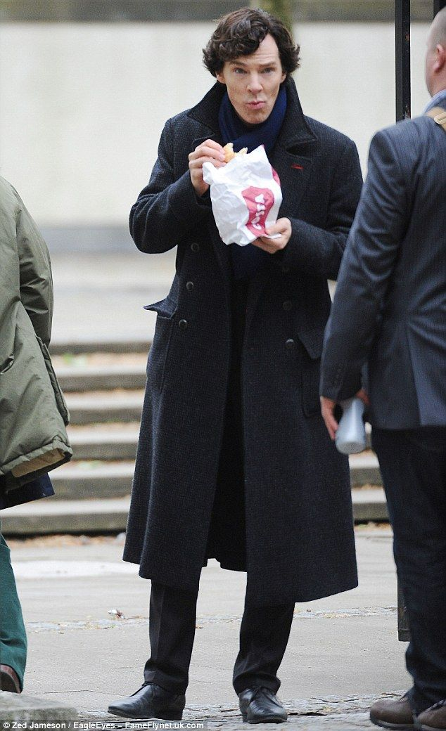 Benedict Cumberbatch and Martin Freeman grab a coffee as HUNDREDS of fans line the streets to see them film Sherlock