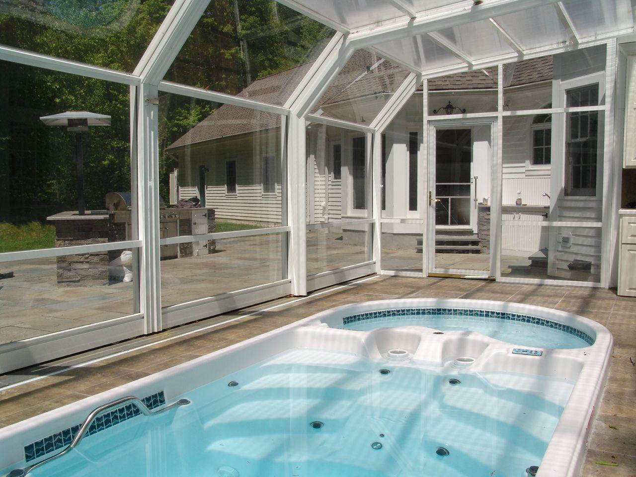 Year Round Indoor Outdoor Hot Tub Rooms Designed By Roll A Cover Hot Tub Room Hot Tub Outdoor Indoor Outdoor Pool