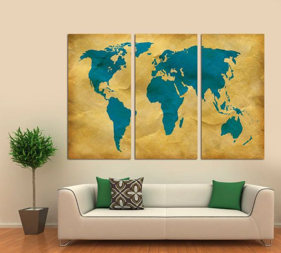 3 Panel Split Art World Map Canvas Print Triptych For