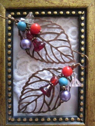 """Handmade """"Cowgirl Rose""""Copper Leaf Earrings, FREE U.S. Shipping!"""