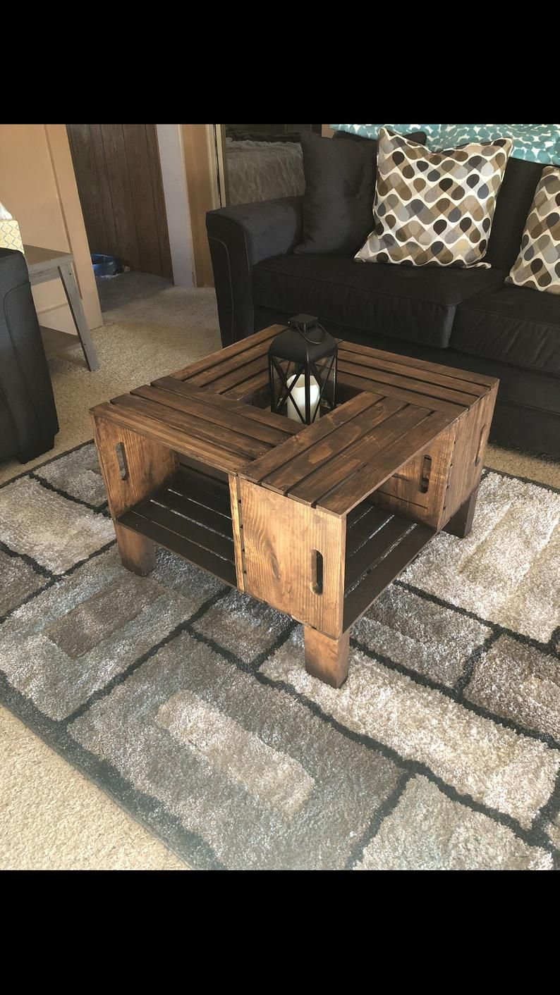 Pallet Crate Coffee Table Etsy Homemade Coffee Tables Crate Coffee Table Coffee Table Inspiration [ 1412 x 794 Pixel ]