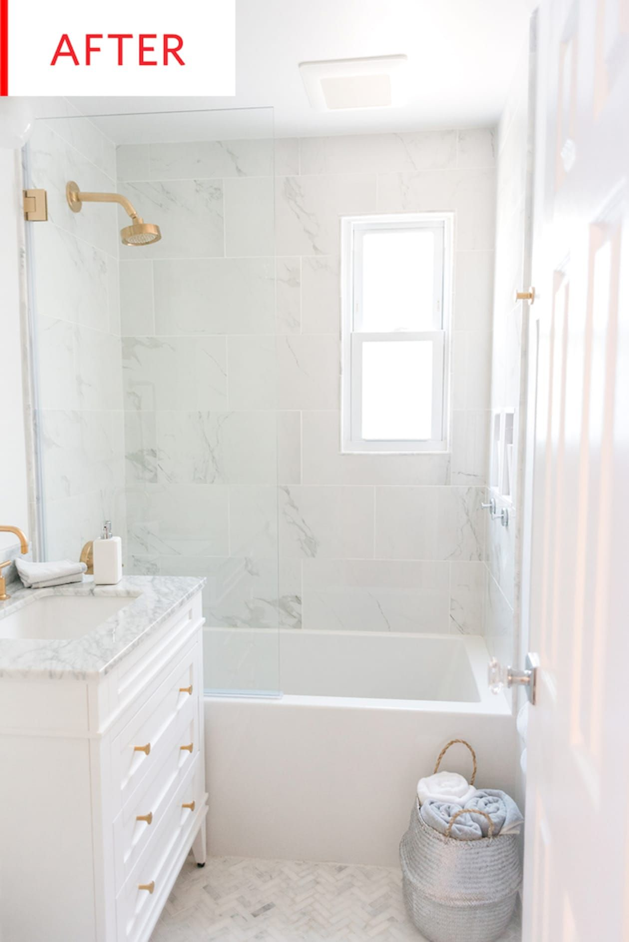 Photo of Before and After: See a Dark, Damp Bathroom's  Carrara Marble-Filled Transformation
