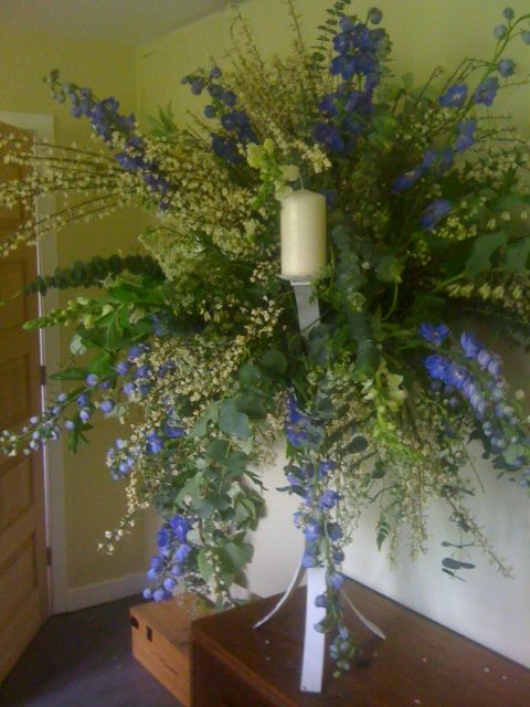 Candle Arrangment for Church Spring Flowers and Centerpieces