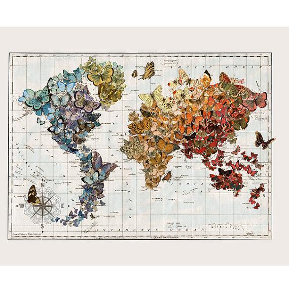 Vintage Map Art Small Butterfly Migration Butterflies World Map