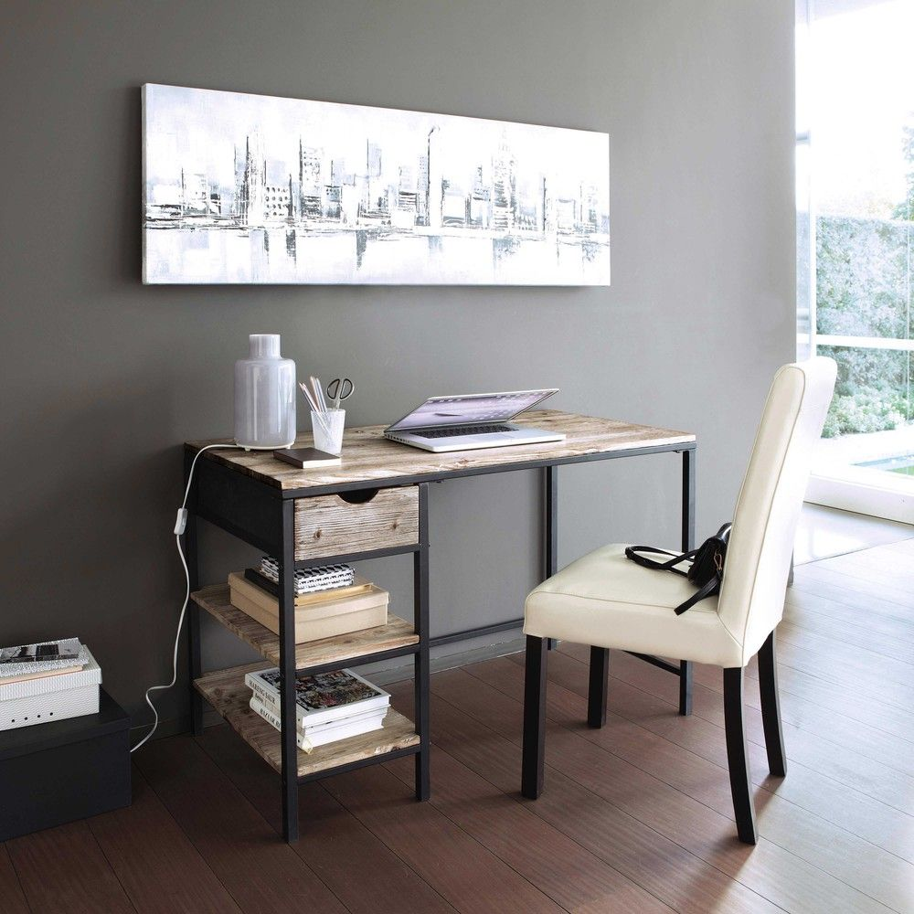 Solid Fir and Metal Industrial Desk in Whitewash Finish ...