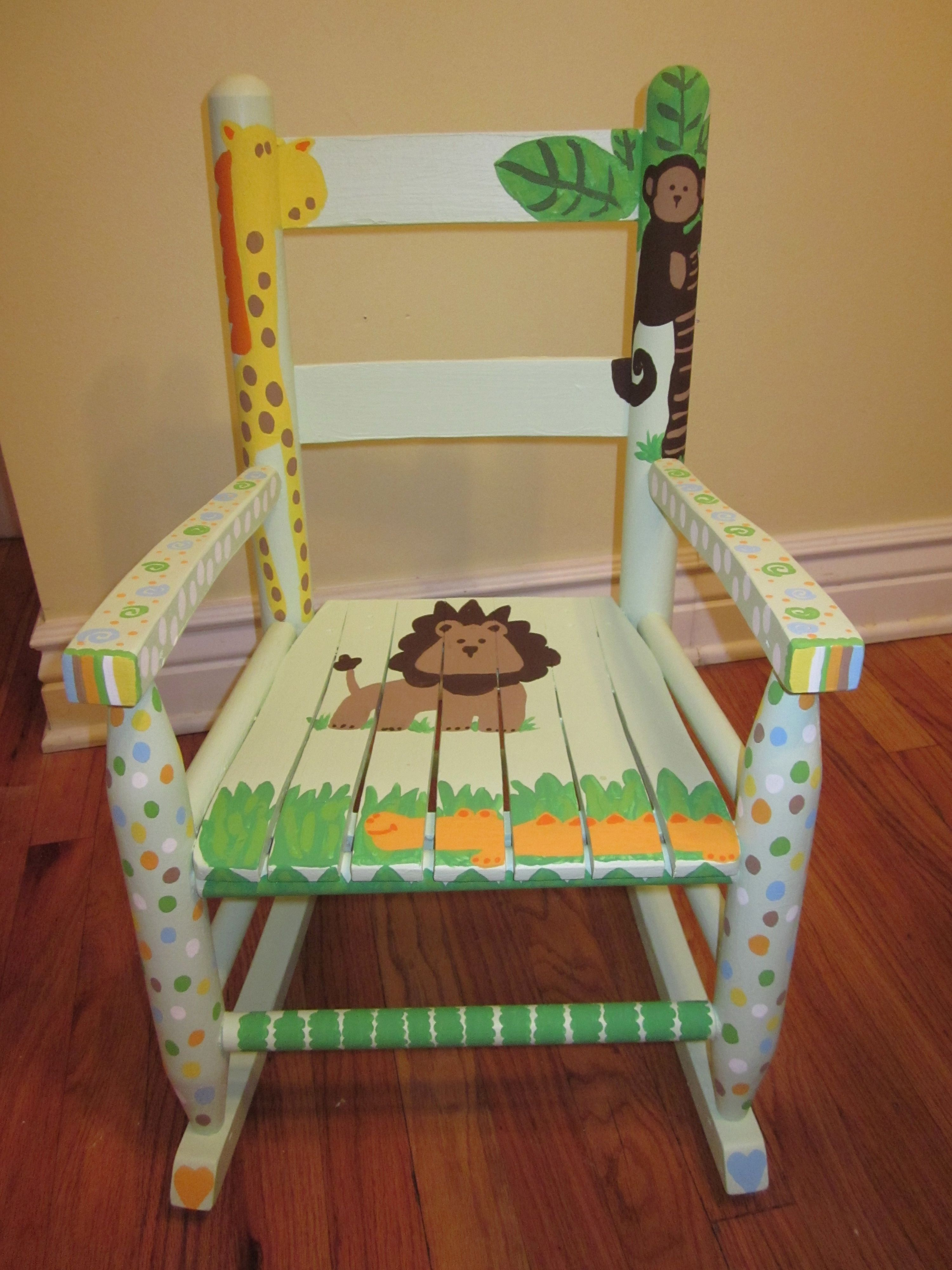 Rocking Chair for baby shower gift to go with jungle bedding.   My ...