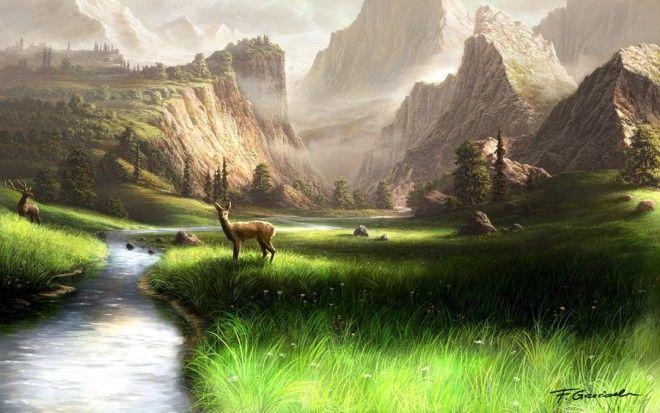 25 Beautiful Digital Art Landscapes And Matte Paintings By Feliks Beautiful Landscape Paintings Mountain Landscape Scenery Wallpaper