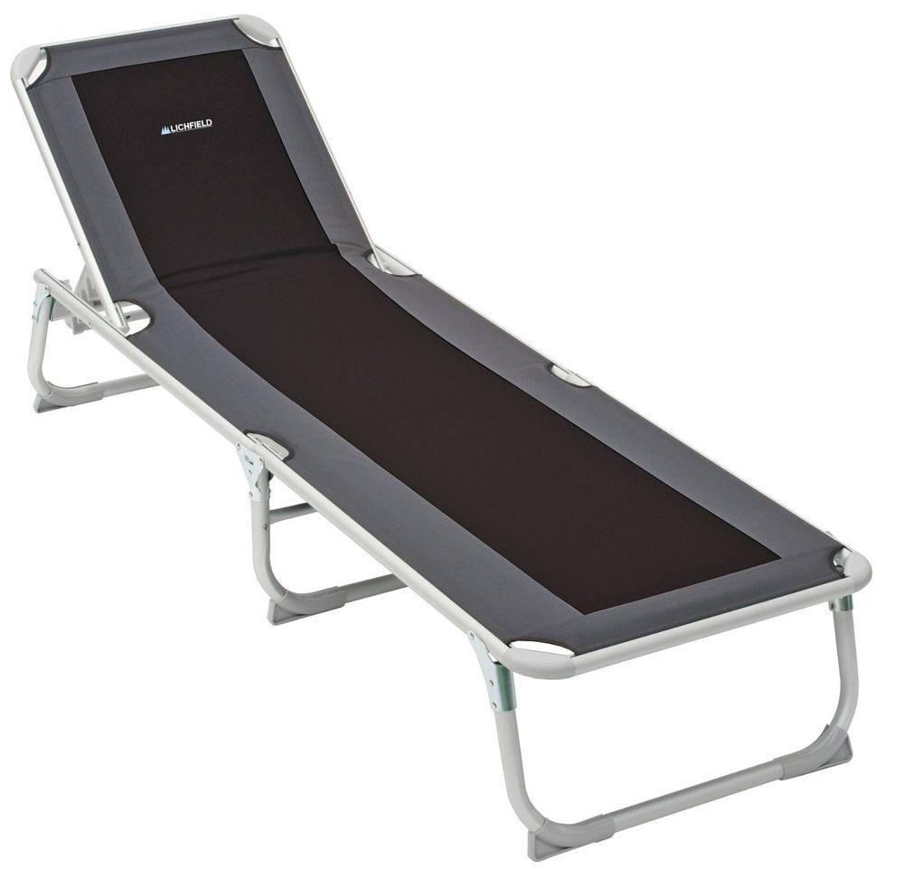 Folding Sun Lounger Sunbed Lie Flat Caravan For Beach Camping