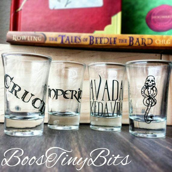 Unforgivable Curses Shot Glasses   Harry Potter   Death Eaters   Dark Arts  Voldemort   Gifts for him   Gifts for her   Vintage