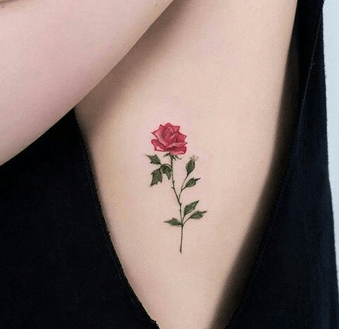 A Colorful Rose Tattoo On Side Body Small Rose Tattoo Tiny Rose Tattoos Tattoos