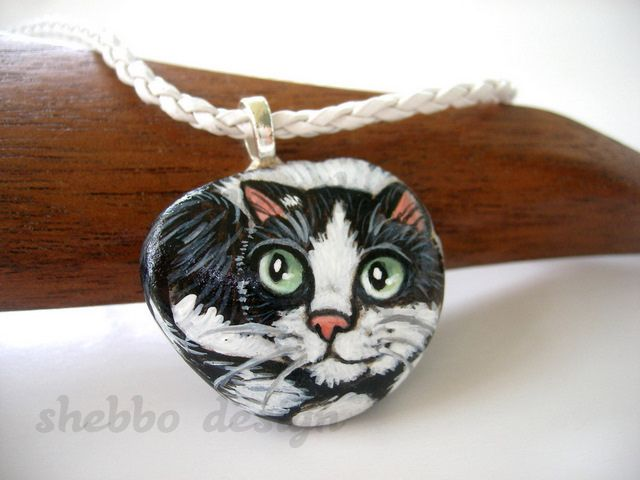 painted stone tuxedo cat necklace | Flickr - Photo Sharing!