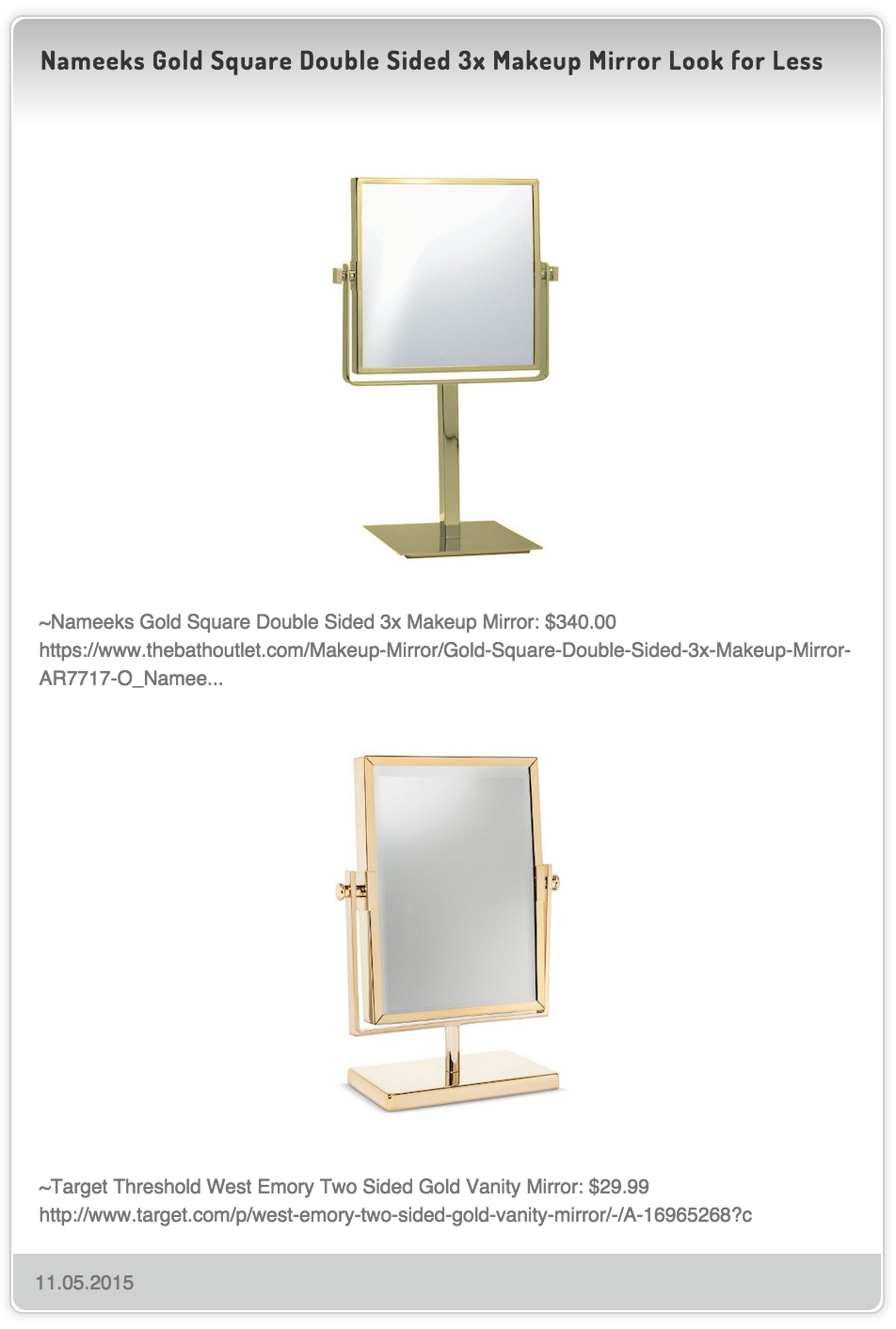 Nameeks Gold Square Double Sided 3x Makeup Mirror Look For Less