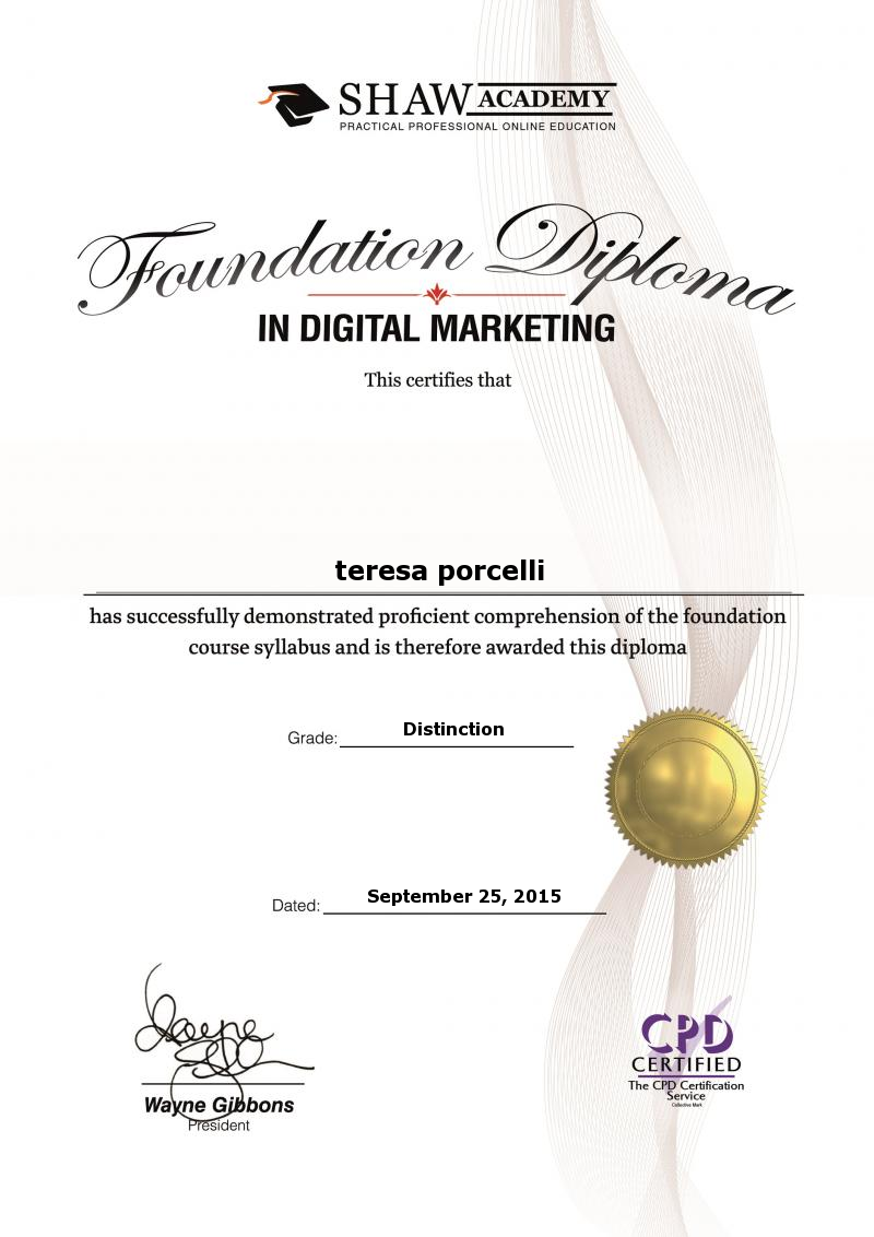 Omp Final Assignment 2015 Teresa Porcellis Certificate Education