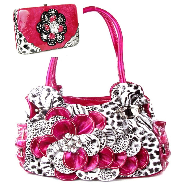 Handbags Bling More Leopard Print Pink Flower Rhinestone Fashion