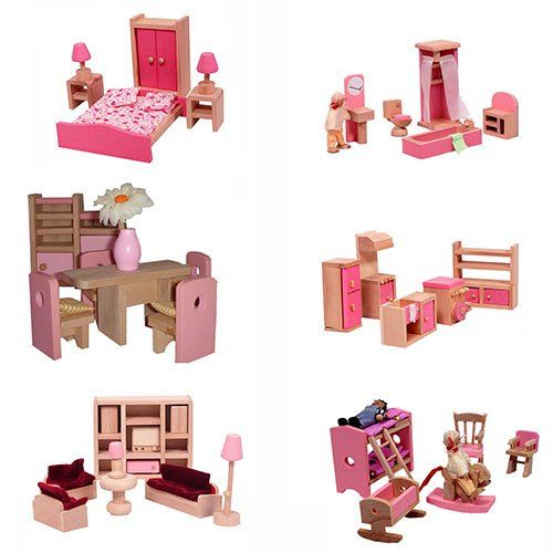 Superior Mamakiddies Wooden Doll House 40 Plus Furniture And Dolls (Pink)