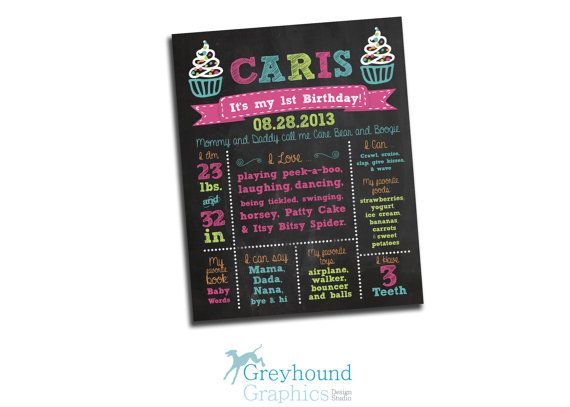 1st birthday Stat sign poster Custom vintage by GreyhoundGraphics, $14.00