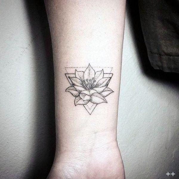 45 Meaningful But Cute Minimalist Tribal Tattoo Designs Lotus Tattoo Design Tattoos Triangle Tattoos
