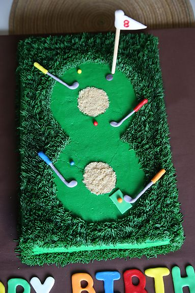Miniature Golf Cake very cute and somewhat simple Can do this