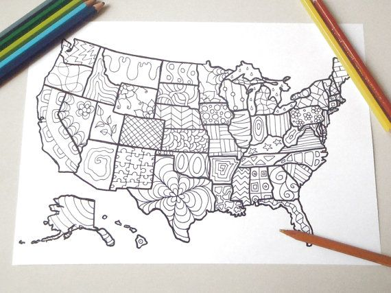Coloring Map Usa United States America Book Planner Journal Kids Adults Digital Download Zen Colouring Printable