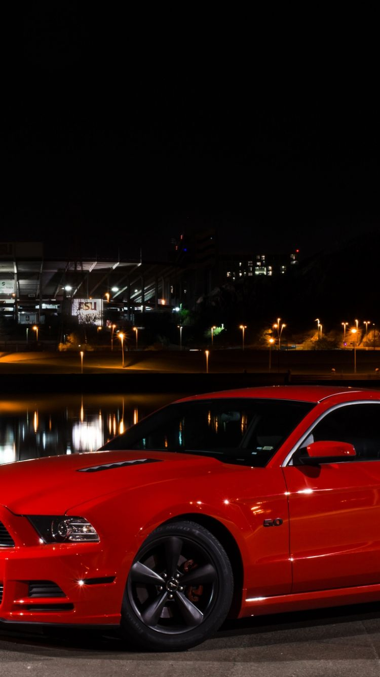 Download Wallpaper 750x1334 Ford Mustang Gt Side View Red Red Mustang Mustang Gt 2013 Mustang Gt