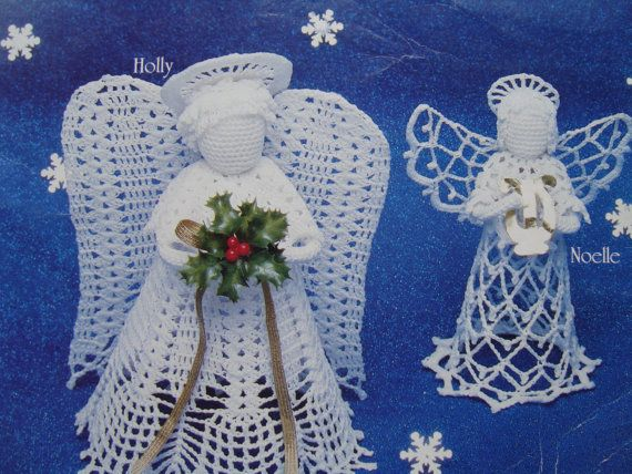 Crochet Angel Patterns Vintage Christmas Angels In Crochet Etsy Christmas Angels Crochet Angel Pattern Needlework Christmas