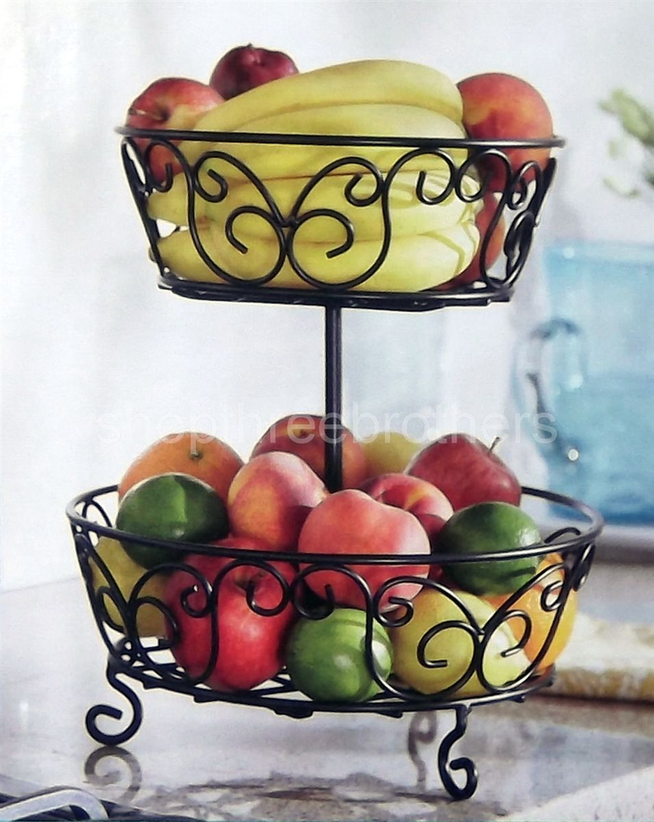 2 Tier Fruit Basket Wrought Iron Handcrafted Serving