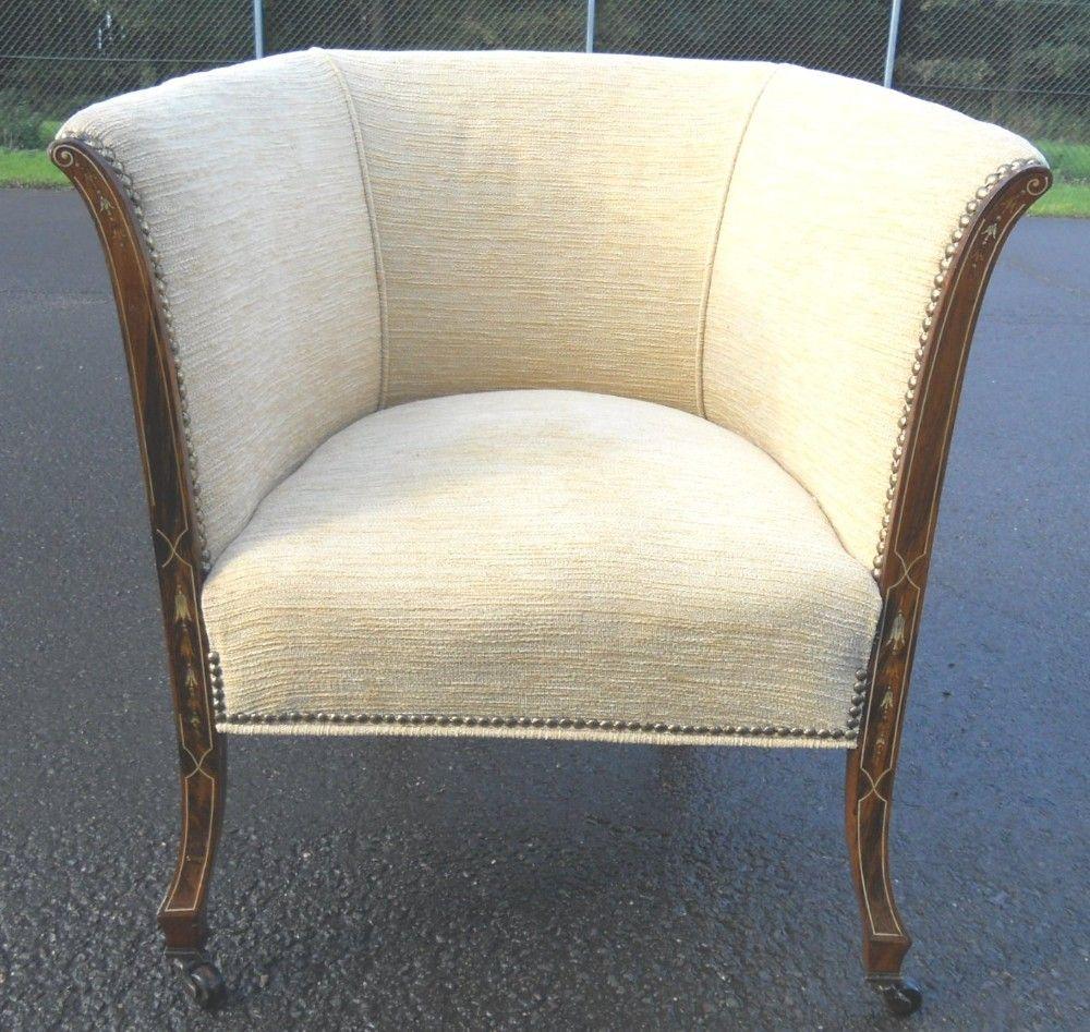 Edwardian Inlaid Mahogany Framed Upholstered Tub Armchair