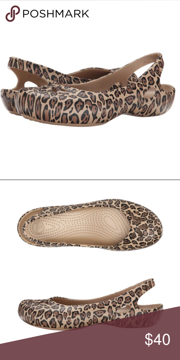 d87ad0e37acb Leopard print sling back flats - Crocs Leopard print sling back flats with  cutout detailed vamp and round toe. Stock images from Amazon.com