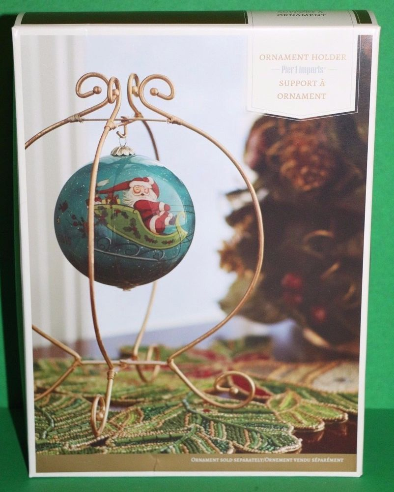 Details About New Pier 1 Imports Gold Christmas Ornament Holder Stand