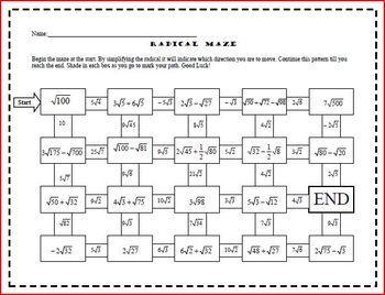 radical maze adding subtracting irrational numbers maze irrational numbers and math journals. Black Bedroom Furniture Sets. Home Design Ideas