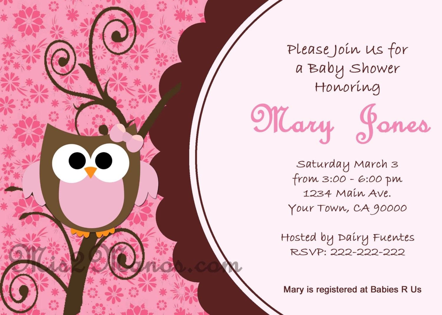Baby Shower Invitations Hot Pink Owl Baby Shower Invitations ...