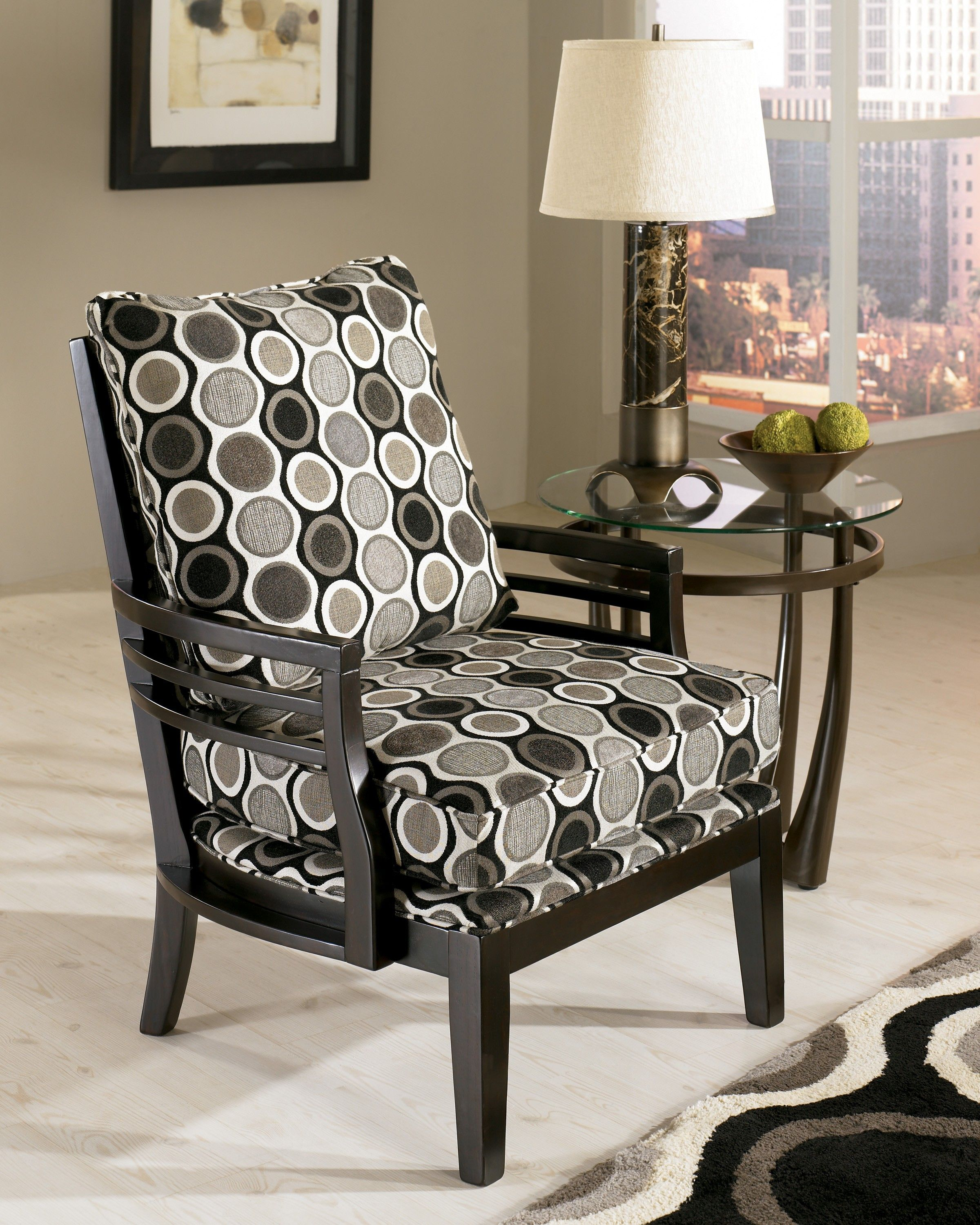 grey and white accent chair baby bouncer pink interior round black home motif matched with chrome table lamp on glass attractive for beautiful
